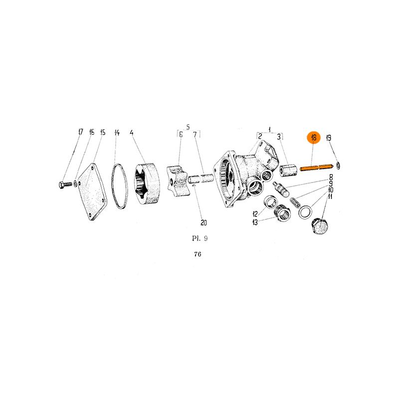 Oil pump drive shaft Aro M207, L25, L27 engines